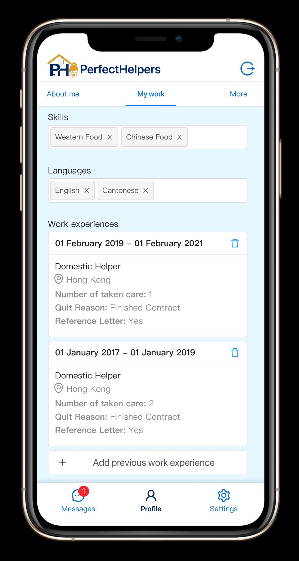 Helper app screenshot